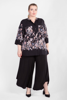Блузка BL04604ROS01 (черный/цветы)