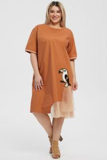 Платье 1191 кирпичный/бежевый