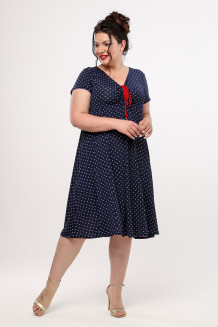 Платье Саманта (синий/горох)