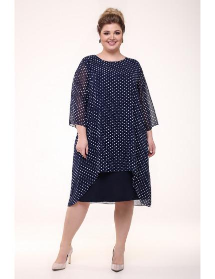 Платье Шарм горох/синий