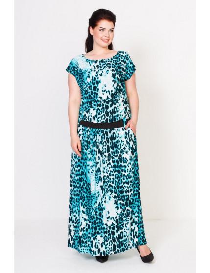 Платье Тиффани (леопард бирюза)
