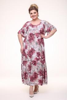 Платье Лилия (серый/красный)