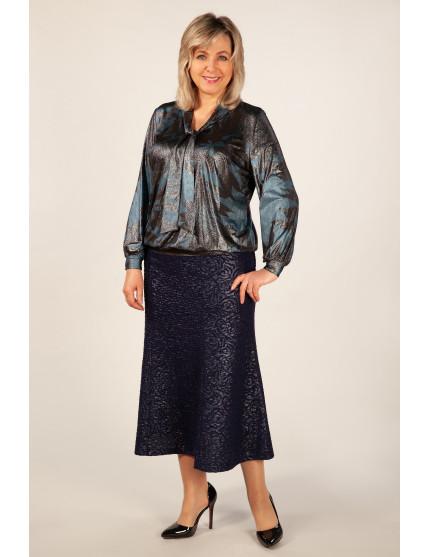 Блузка Платина (черно-синий)