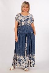 Платье Анджелина (джинс/цветы бежевые)