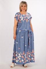 Платье Анджелина (джинс/цветы)
