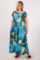Платье Анджелина (голубой/цветы)