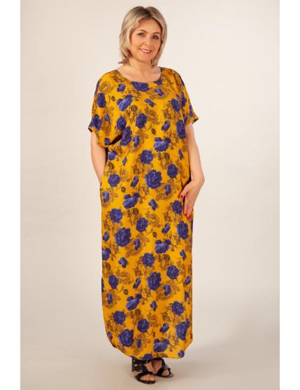 Платье Мальта (горчичный/синий)